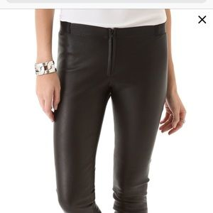 Alice + Olivia black genuine leather skinny pants